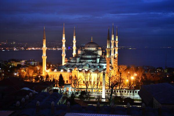 plava dzamija istanbul noć